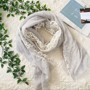 Accessories - Gray White Lace Lightweight Scarf